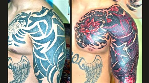 cover up traibal tattoo with red koi and flowerws youtube