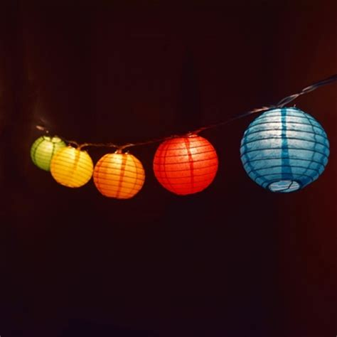 lantern lights string 10 socket multi color paper lantern string