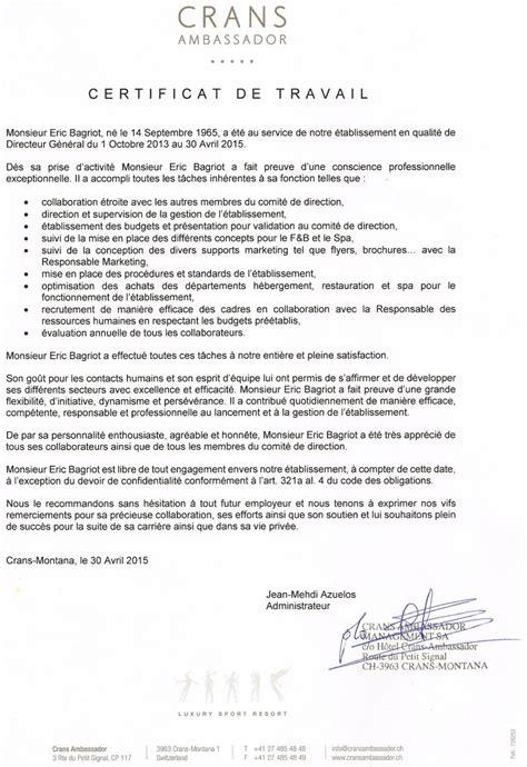 Certificat De Travail Le Plus R 233 Cent Cv Eric Bagriot