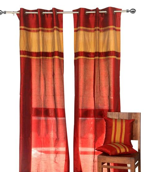 kantha curtains mynest home burgundy curtain with beige kantha panel buy