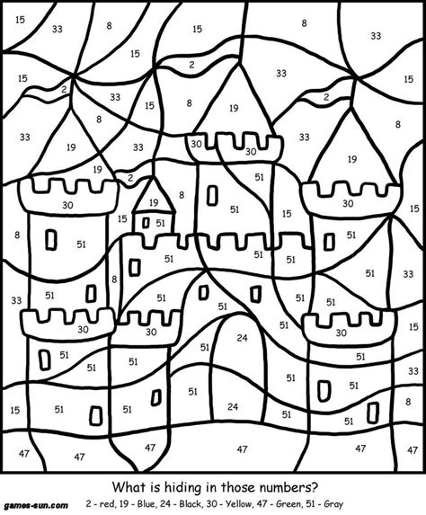 Color By Numbers Castle Kid Art Pinterest Coloring Color By Number For Boys Free
