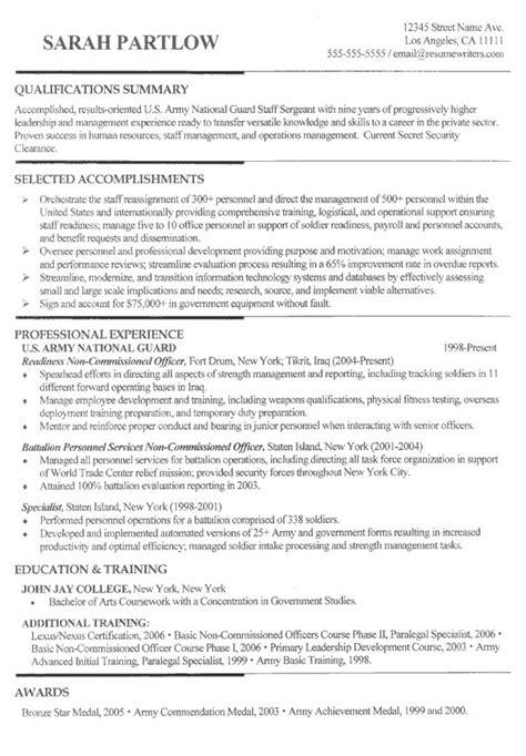 army resume sle 21 best sle resumes images on sle resume
