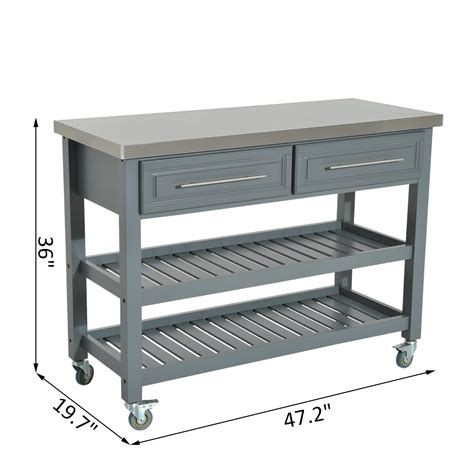 stainless steel rolling homcom 47 stainless steel 3 tier kitchen rolling cart