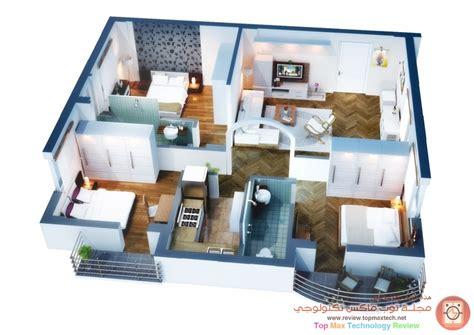 home design 3d upstairs مخططات شقق معاصرة في الشقة 3 ثلاث غرف نوم بحماماتها تخطيط