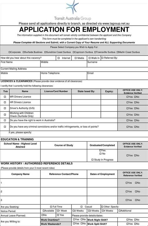 8 Free Standard Job Application Form Template Format Sle Word Doc Pdf Templates For Hiring Employees