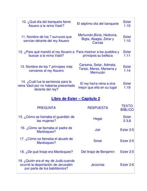 preguntas para la historia de vida cuestionario de los capitulos del libro de ester