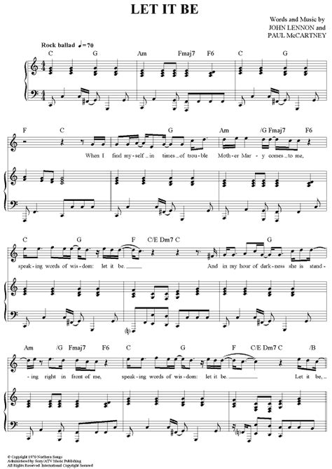 let it be printable sheet music let it be sheet music music for piano and more