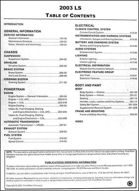 car repair manuals online free 2003 lincoln ls auto manual 2003 lincoln ls repair shop manual 2 volume set original