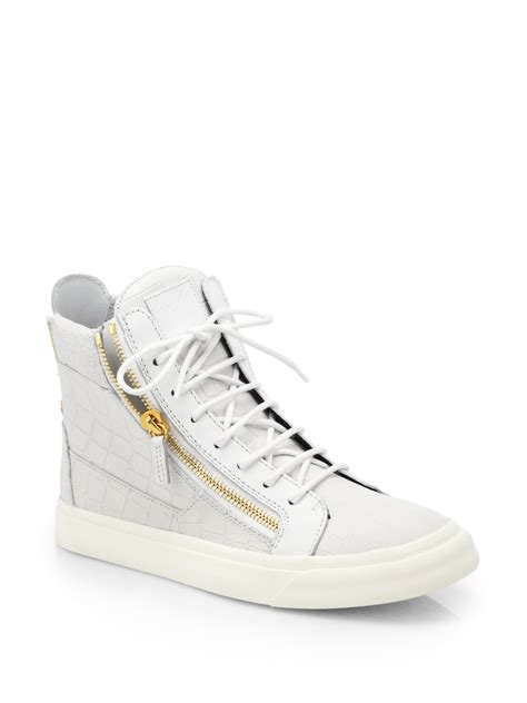 giuseppe zanotti sneakers white giuseppe zanotti mock croc leather high top trainers for