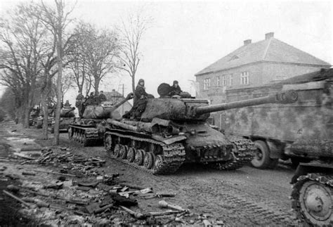 5 march 1945 soviet tank column smashes through civilian