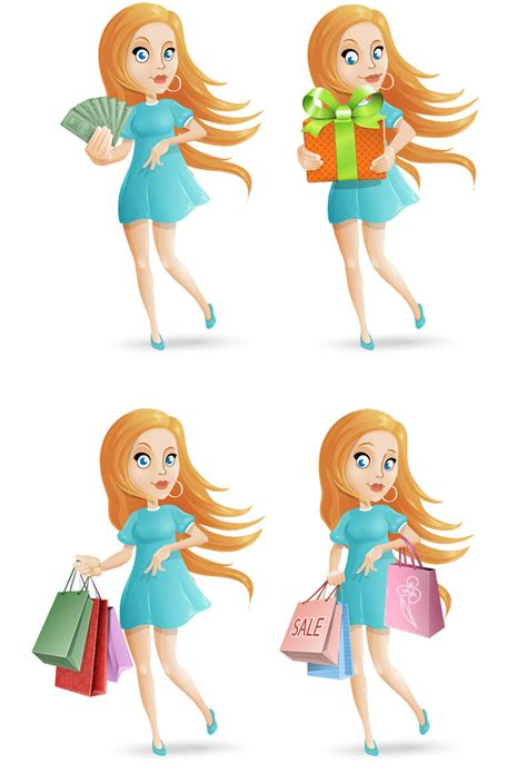 shopping girl vector character set vector characters