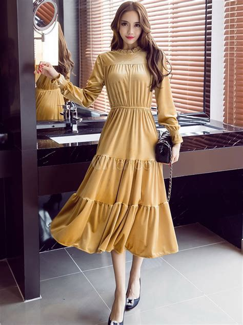 yellow long dress korean velvet ruffled stand collar long