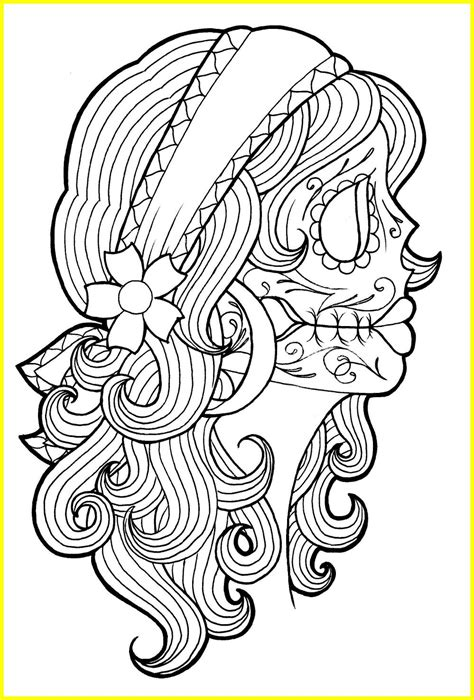 lovely day of the dead sugar skull coloring pages ideas