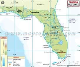 florida physical features map physical map of florida