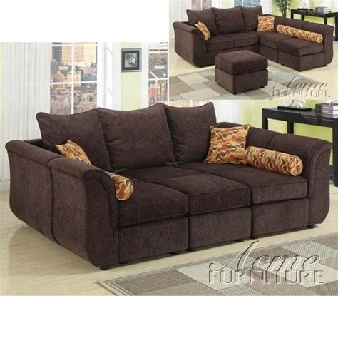 modular sectional sofa with ottoman caisy chocolate chenille modular sectional sofa with