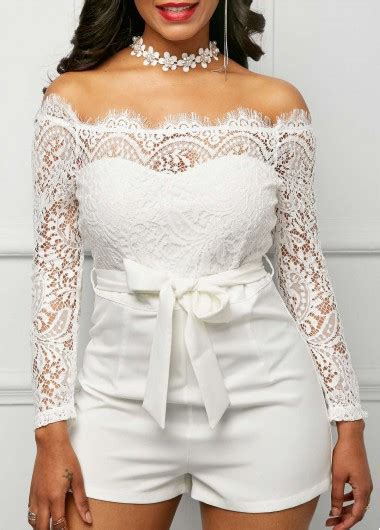 sleeve lace panel white bardot romper rosewe usd 33 08