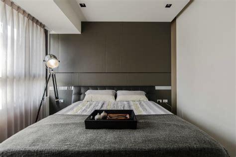 minimal design bedroom stone and wood make a dark masculine interior