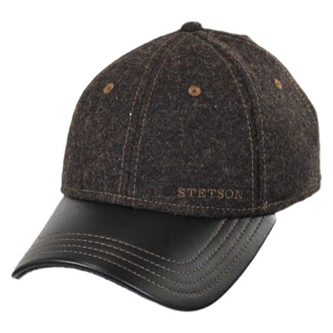 stetson wool and leather strapback baseball cap blank
