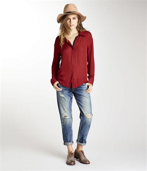 down blouses for 2013 video star travel international down blouses for michael stars silk collared button down shirt in red