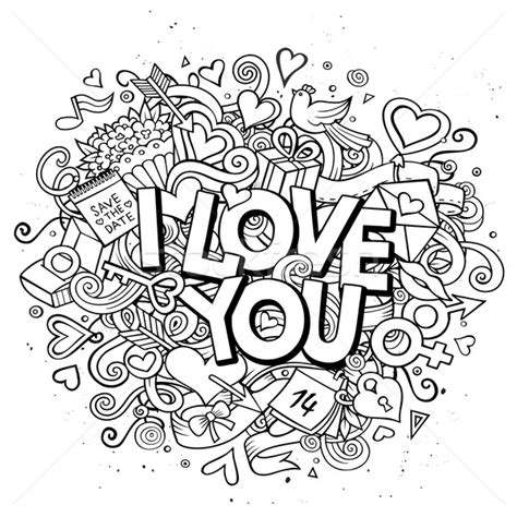 Doodle Pattern Love | cartoon vector hand drawn doodle i love you illustration