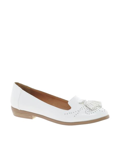 studded flats shoes asos miller studded flat shoes in white lyst