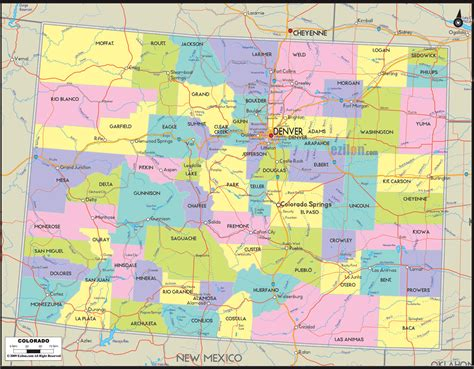 colorado map with cities political map of colorado ezilon maps
