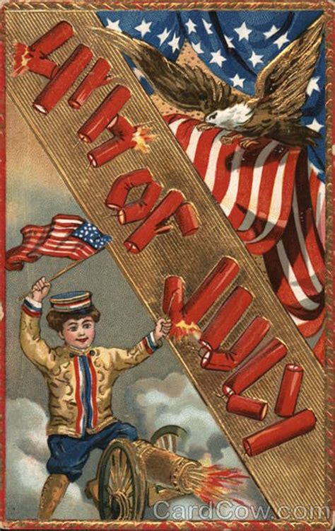 eagle boy firing cannon flags 4th of july postcard