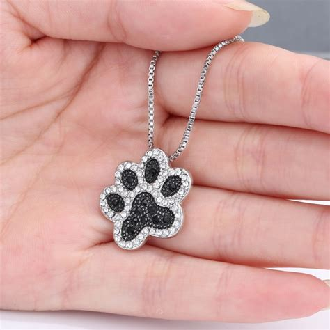 Rhinestone Animal Pendant Necklace silver handmade rhinestone animal paw