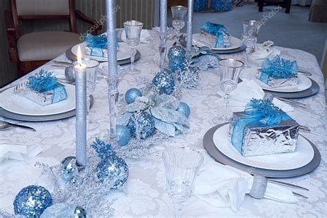 silver and blue christmas table decorations