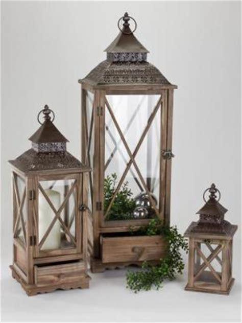 laterne mit schublade aus holz formano laterne aus holz antik mit metall dach 65 cm ebay