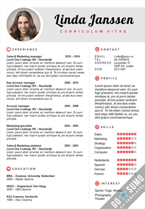 Cv Templates by Cv Template Madrid Go Sumo Cv Template