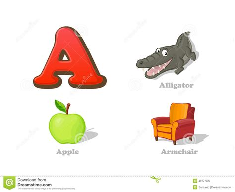 Colorful Armchair Abc Letter A Funny Kid Icons Set Alligator Apple