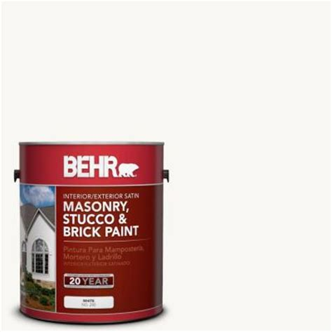 behr premium 1 gal ms 31 white satin interior exterior masonry stucco and brick paint 28001