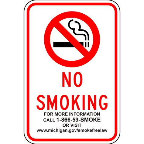 no smoking sign called no smoking for info call sign nhe 10666 michigan no smoking