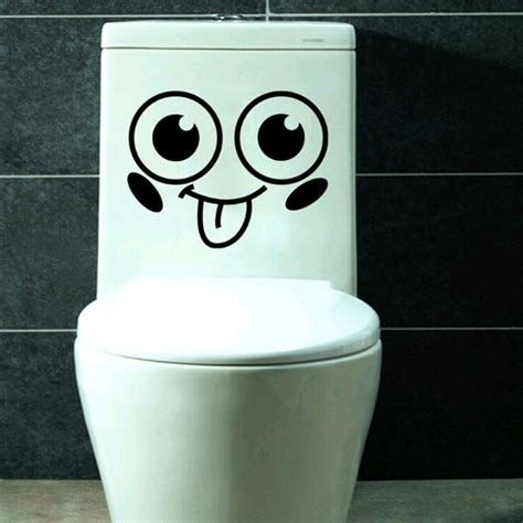 funny bathroom stickers smile face toilet decal vinyl wall mural art decor funny