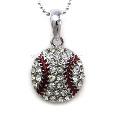 sports for jewelry clear baseball sports pendant necklace
