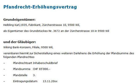 Muster Zession Schweiz Pfandvertrag Erh 246 Hung