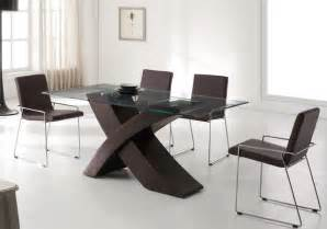 Modern Chairs For Dining Table Refined Wood And Glass Top Leather Modern Furniture Table Set Contemporary Dining Tables