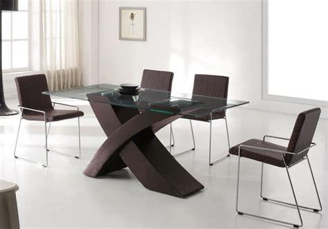 refined wood and glass top leather modern furniture table