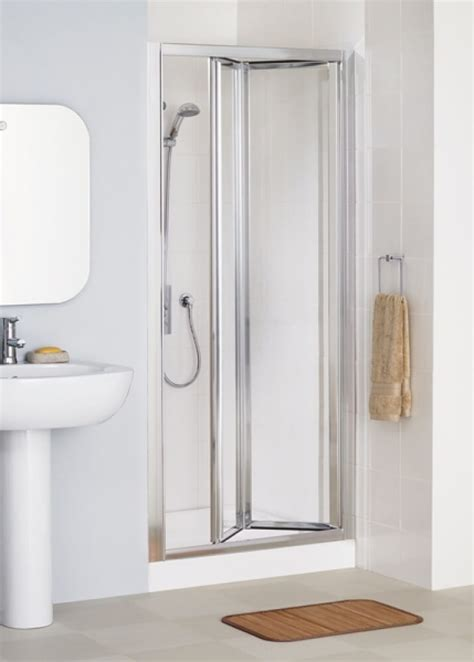 Shower Bi Fold Doors 700mm Lakes Bathrooms Classic Silver Framed 700mm Bi Fold Shower Door