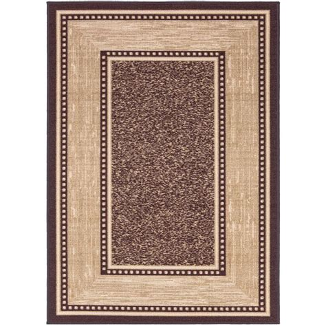 Area Rug 5 X 6 Ottomanson Contemporary Bordered Design Brown 5 Ft X 6 Ft 6 In Non Skid Area Rug Oth2208 5x7