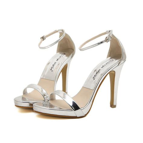 silver heeled sandals silver strappy high heel sandals