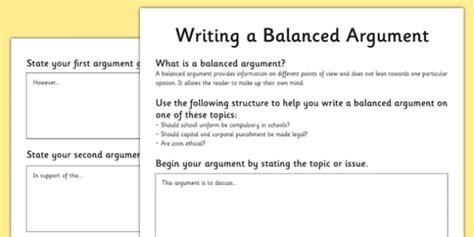 pattern of writing debate writing a balanced argument worksheets balanced argument