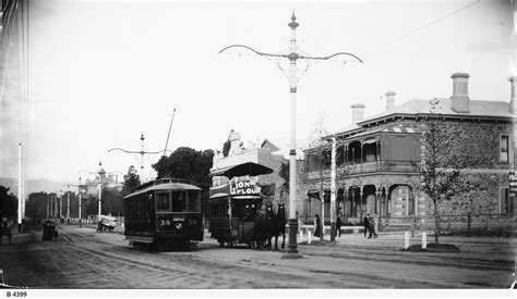Sa 1413 B Black White trams and new terrace adelaide photograph state library of south australia