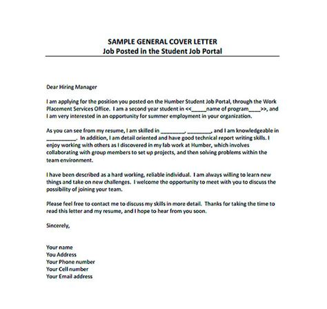 general cover letter templates resume cover letter templates to secure application