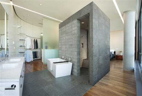Master bedroom layout bathroom modern with curved wall