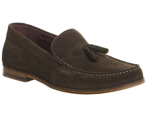 mens tassle loafers mens ted baker dougge tassel loafers brown suede casual
