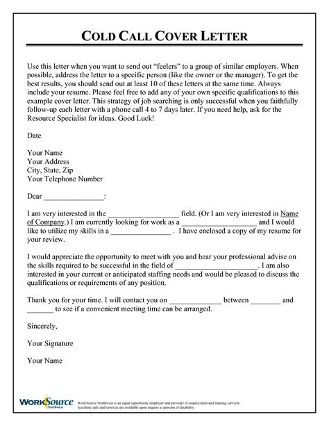 cold call resume cover letter cold call cover letter use this letter when you want random