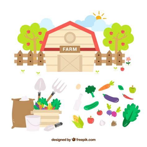 granero vector granero con vegetales y herramientas de granja planas