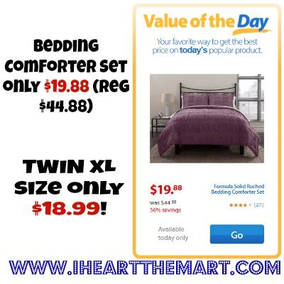 walmart bedding coupons walmart value of the day bedding comfort sets starting at